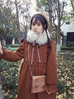 Winter Warm Retro Japanese Chocolate Coffee Color Woolen Jacket Dress
