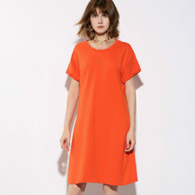 Summer O-Neck Tshirt Dress Casual Loose Solid Color Women dress Fashion short sleeve A line Dress Simple vogue Large Size Tops