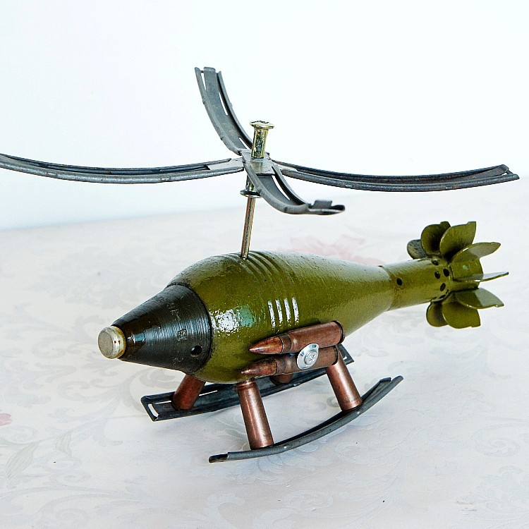 Metal Crafts Cannon Shell Model Army Memorial Helicopter  home decoration accessories modern christmas