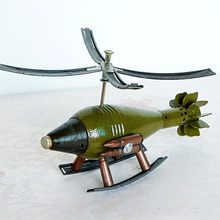 Metal Crafts Cannon Shell Model Crafts Army Memorial Helicopter Model home decoration accessories modern christmas(China)