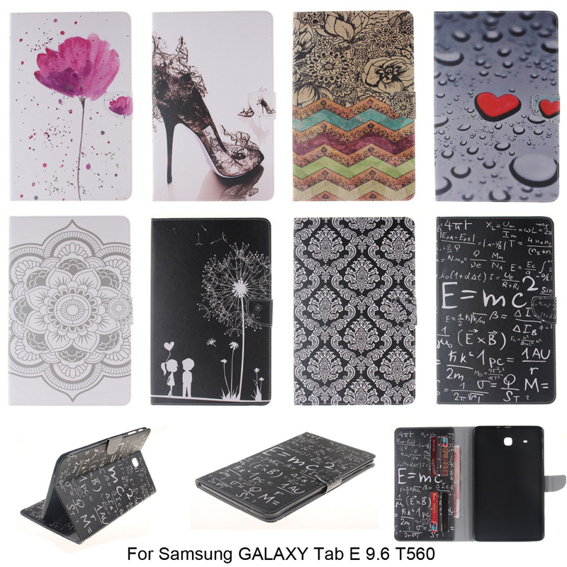 High Quality Wallet Flip  PU Leather Cover For Samsung GALAXY Tab E 9.6 T560 SM-T561 Tablet with Card Holder Cover Case B45 цена