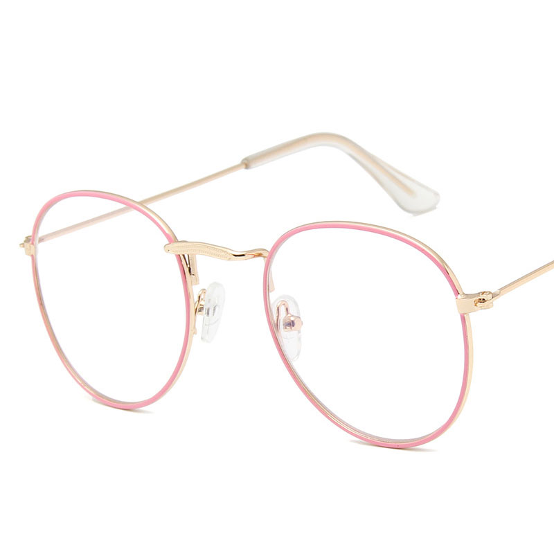 2019 Latest model Metal vintage pattern man and women glasses round frame Metal frame UV Famous design Pink Light weight