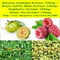 1 Pacote de extrato de Garcinia Cambogia + Grão de Café Verde + Framboesa Cetonas + Chá Verde Misturado Cápsula 400 mg x 200 pcs frete grátis