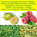 1Pack Garcinia Cambogia +Green Coffee Bean + Raspberry Ketones + Green Tea Mixed Capsule 400mg x 200pcs free shipping