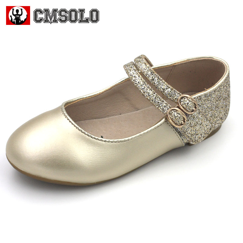 CMSOLO Princess Casual Shoes Leather Girls Party Dancing Rubber Flat Footwear Children Gold Silver Quality Shoes Size 26-30 Kids