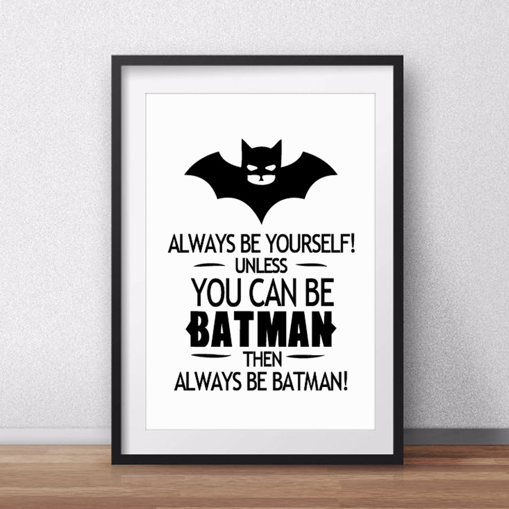 Batman Quote Canvas Art Print Poster Wall Pictures For Home Decoration Black And White Prints Decor Frame Not Include In Painting Calligraphy