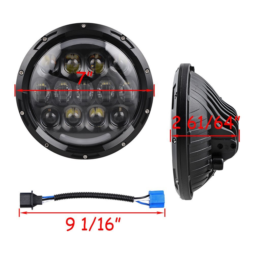 For Jeep LED Headlight 7 LED Headlamp with White Halo&Amber turn signal light&DRL lamp 7inch LED Projector Head Lamp - 4