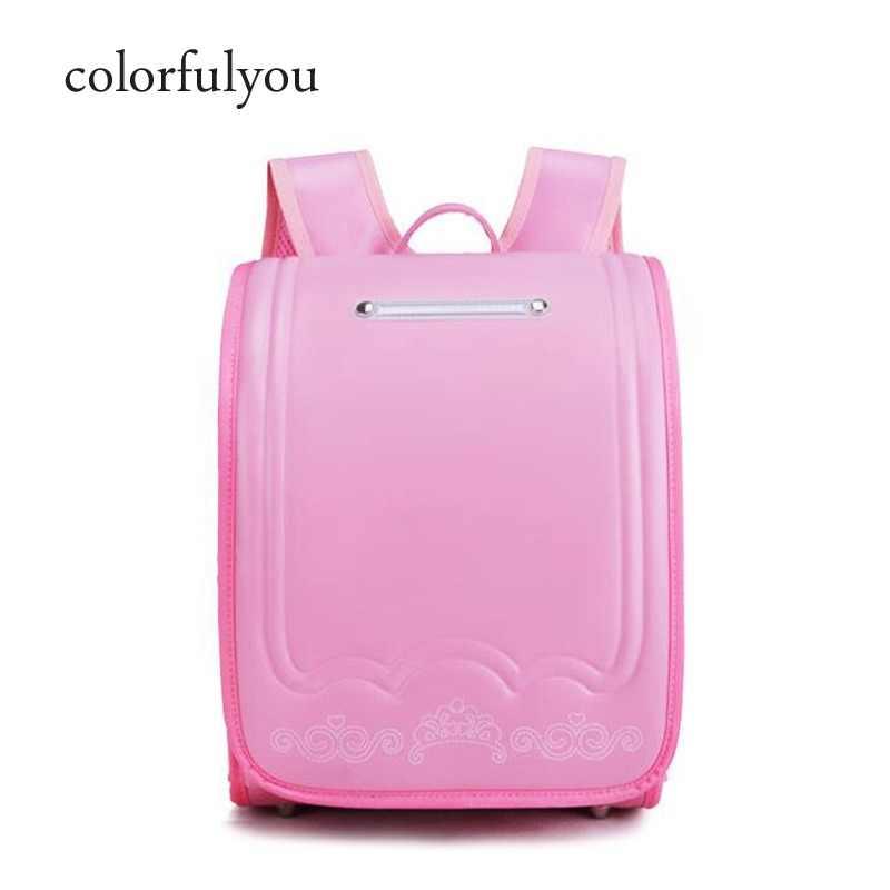 d93d0066e506 Япония Детская сумка ортопедические школьные детские сумки, рюкзаки для  девочек и мальчиков водостойкий PU Randoseru
