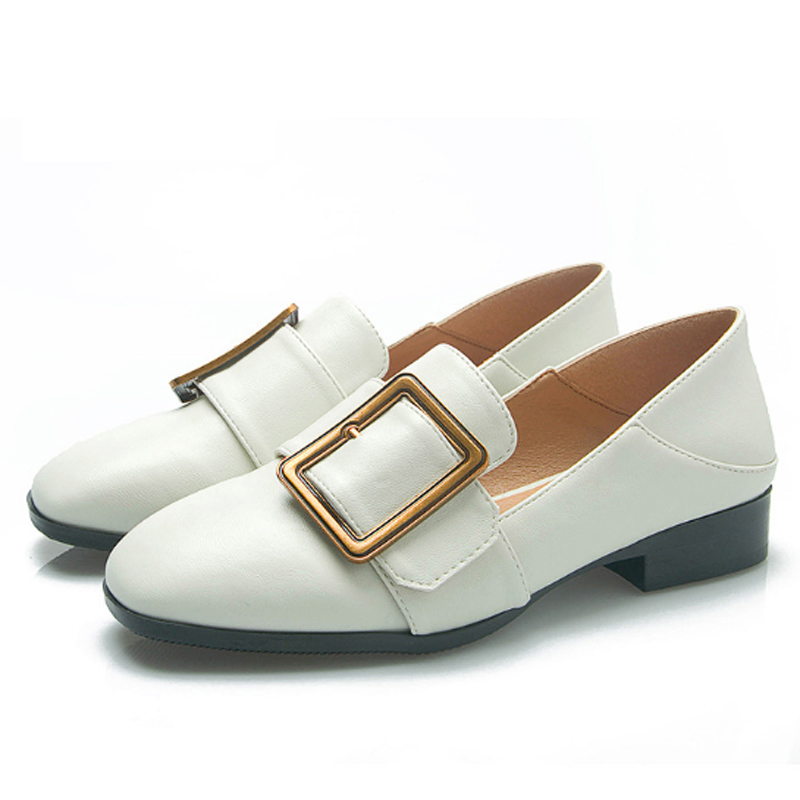 Spring New Fashion Women Flat Shoes Patent Leather Casual Metal Buckle Square Toe Boat Shoes For Office Ladies Women's Shoes ladies shoes 2018 spring british style multicolor leather shoes square head slope thick soles shoes fashion fit flat shoes