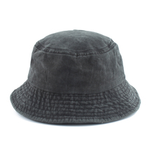 Washed Cotton Black Bucket Hat Men Panama Summer Denim Boonie UV Sun Protection Hiking Fishing Bob Chapeau