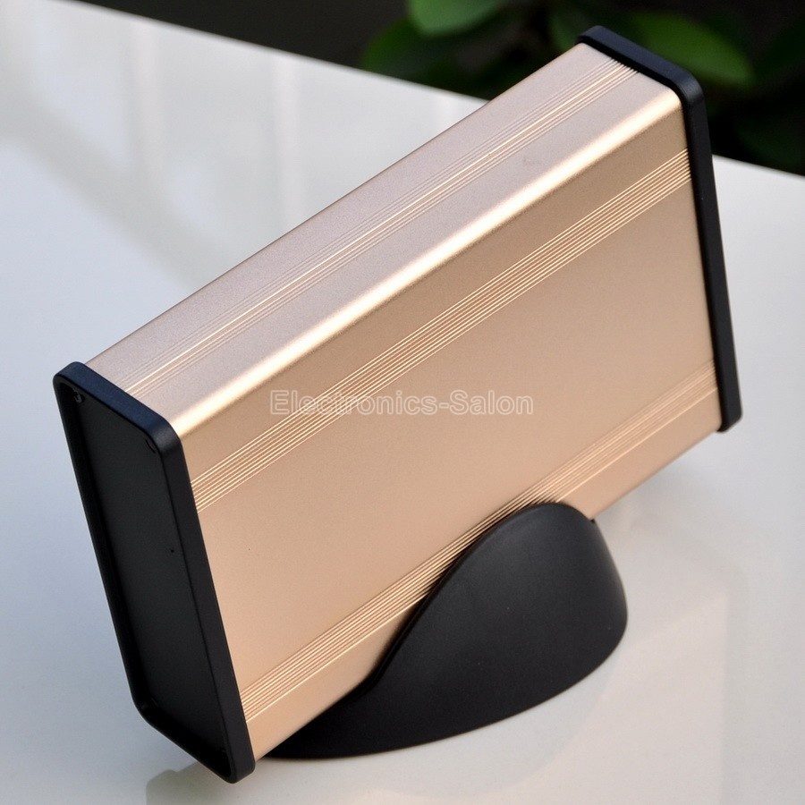 Aluminum Project Box Enclousure Case With Base, Gold, 3.78