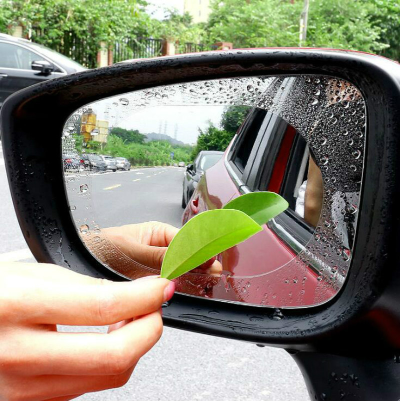 Pair of Universal Car Anti Fog Rainproof Wing Mirror Adhesive Film 95mm x 95mm