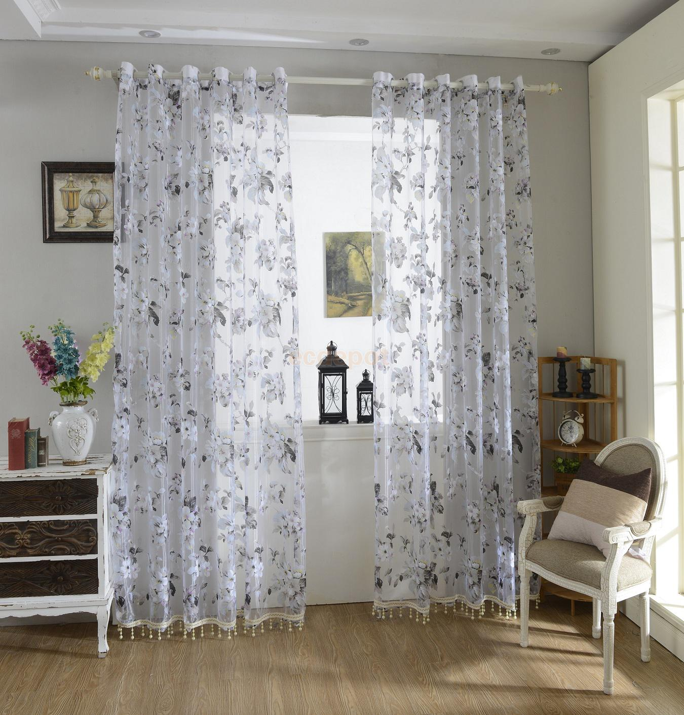 Sheer plum curtains - Flower Floral Tulle Sheer Curtains Window Blinds Panel W Bead Purple 100x200cm China