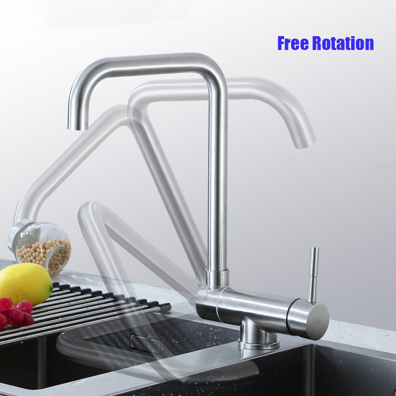 720 Rotatable Hidden-free Kitchen Faucet Sink Water Mixer Taps Single Hole Deck Mount Surface Brushed Grifos Fregadero Cocina