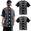 2015 Hot Sale Streetwear Fashion Paisley Bandana Print Graphic Unisex T Shirt Hip Hop Tee Shirt  for Women and Men