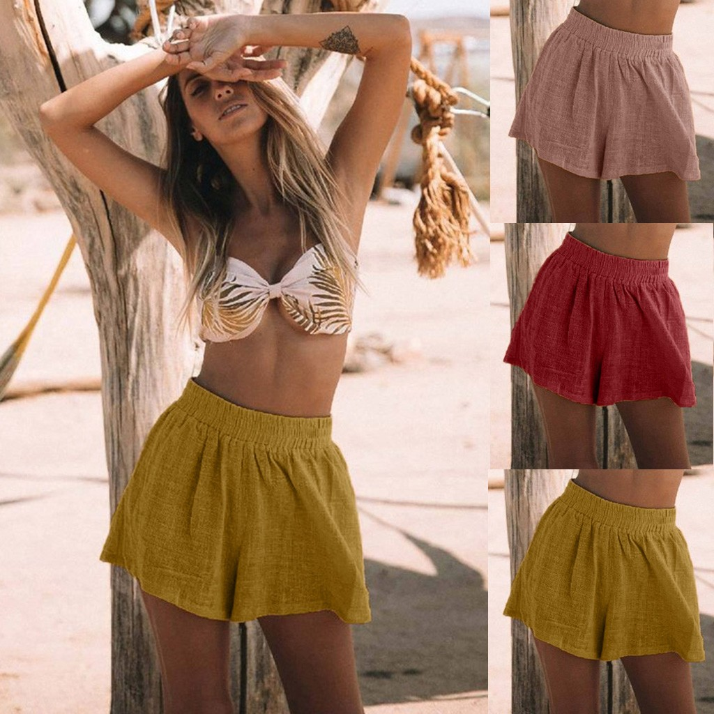 2019 Women Beach Cotton Linen Fashion Sexy   Shorts   Workout Flannel   Short   Pants Feminino Pantalones Mujer Fitness Soft Sportwear