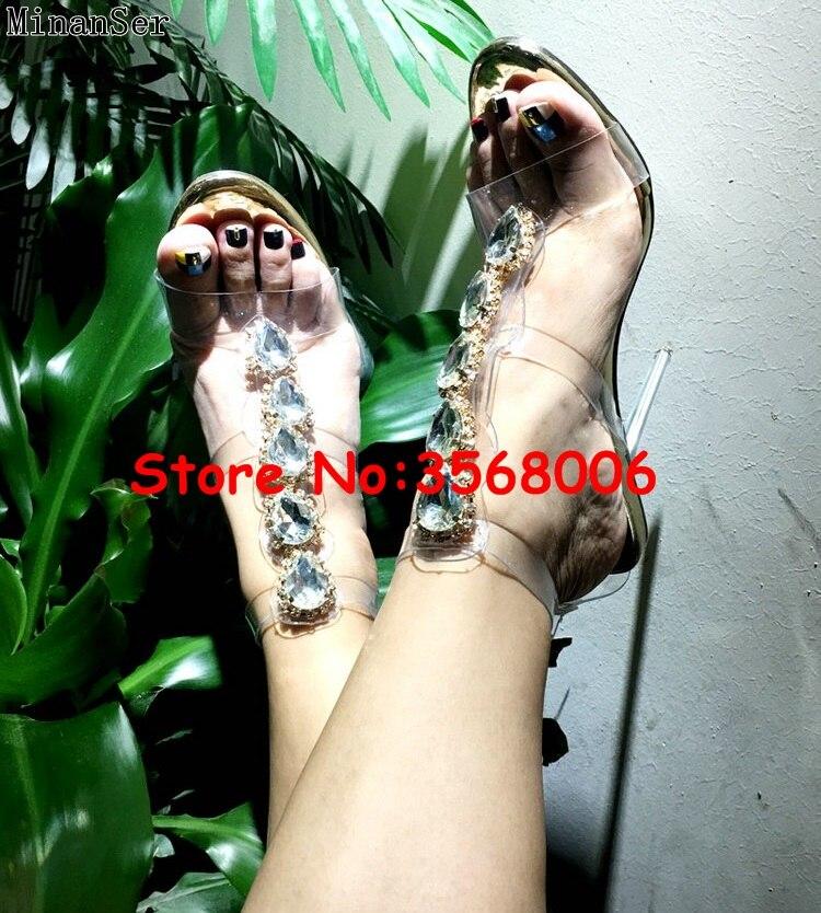 Luxus Marke Offene spitze Mode Stiletto High Heels Schuhe Kristall Verziert T strap Mode Sandalen Schuhe PVC Klar Sexy pumpen-in Hohe Absätze aus Schuhe bei  Gruppe 2