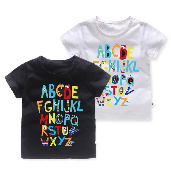 Summer Children Clothing Boys 2018 Kid Puzzle T shirts Boys Clothes Kids Tee Shirt 100% Cotton alphabet Print Baby Boy Clothing boys tee
