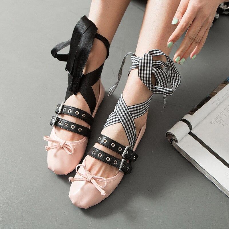 где купить 2017 Fall Women's Ballerina Flats Casual Genuine Leather Ballet Sweet Bowtie Korean Style Double Buckle Espadrilles Shoes по лучшей цене