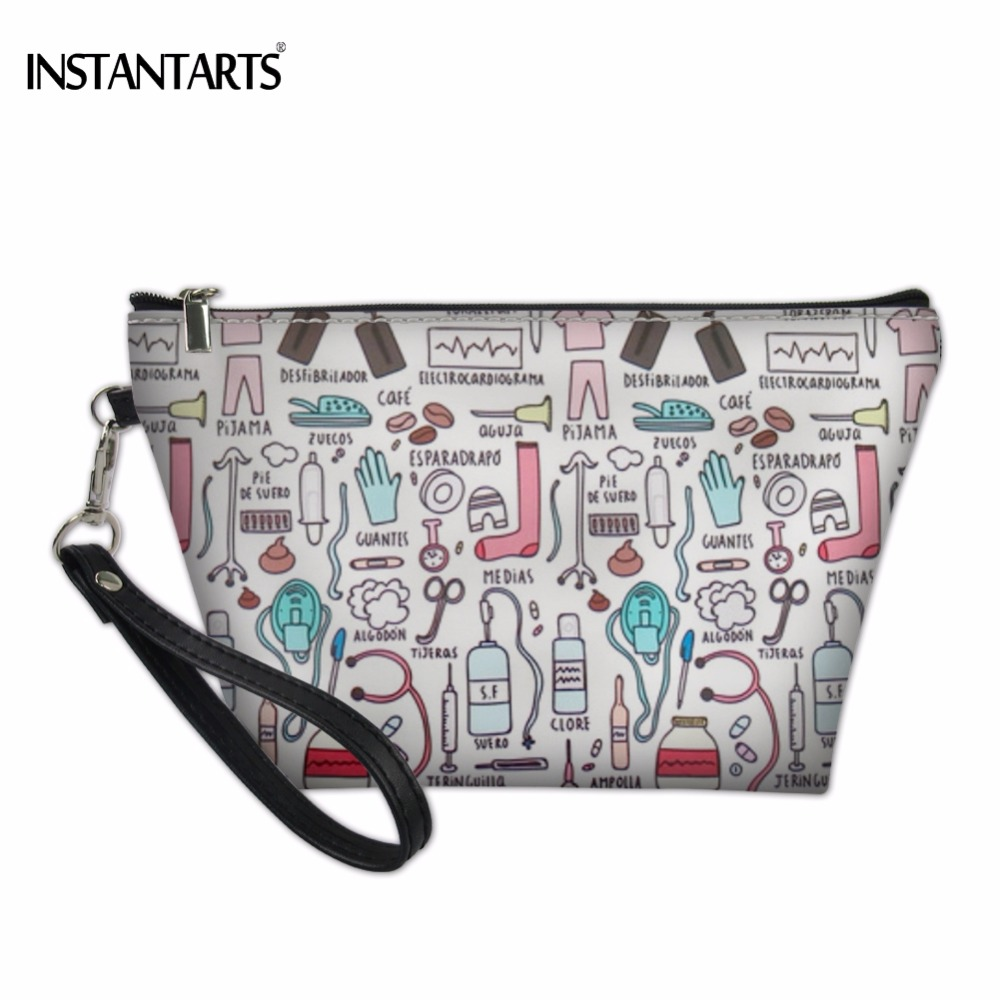 INSTANTARTS Casual Woman Big Make Up Case Cartoon Nurse 3D Printing Female Travel Cosmetic Bags Fashion PU Leather Makeup Bags