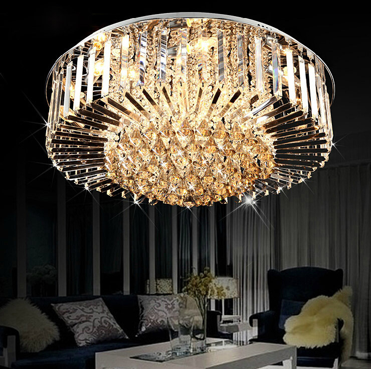 Modern 30w Crystal Chandelier Ceiling Fixtures Flush Mount E14 Halogen Bulbs Chandeliers Ac220v 40 60 80 100cm Diameter In From Lights