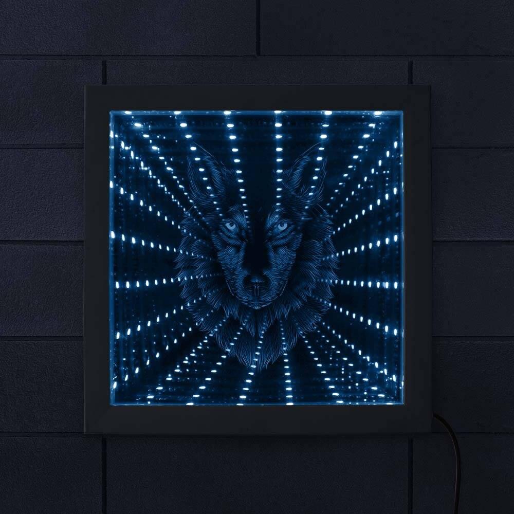 3D Wolf Head Shape Infinity Mirror Atmosphere Home Decor LED Vortex Tunnel Interstellar Mirror Wildlife Animals Mirrored light