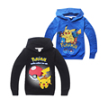 Pokemon GO causal kids hoodie coat cartoon games cute Pikachu soft cotton sweatshirt for 3-10yrs child boys girls hoody clothes