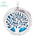 10pcs mesinya czech crystal  tree of life(30mm) Aromatherapy / Essential Oils surgical S.Steel Perfume Diffuser Locket Necklace