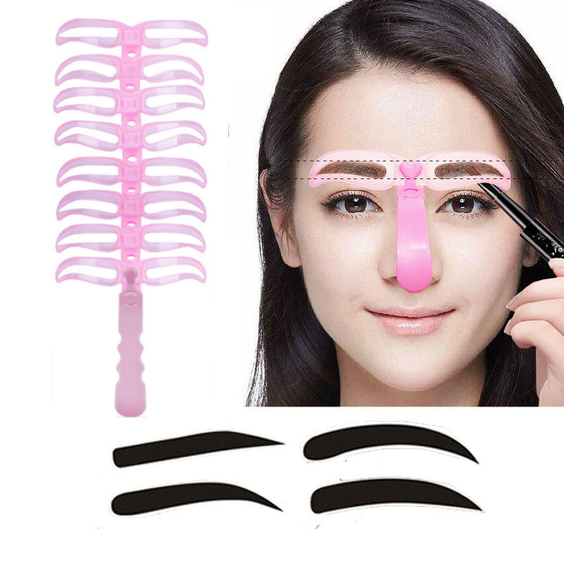 8pcs/set makeup eyebrow stencils professional beauty cosmetic tools grooming eyebrow drawing shaper Template kit AC067