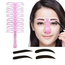 8pcs/set makeup eyebrow stencils professional beauty cosmetic tools grooming drawing shaper Template kit AC067