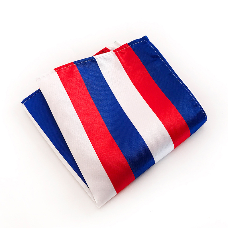 Classic Mens Polyester Yarn Pocket Square Colorful Striped Hanky Handkerchiefs For Men Suit Hankies Hanky Chest Towel