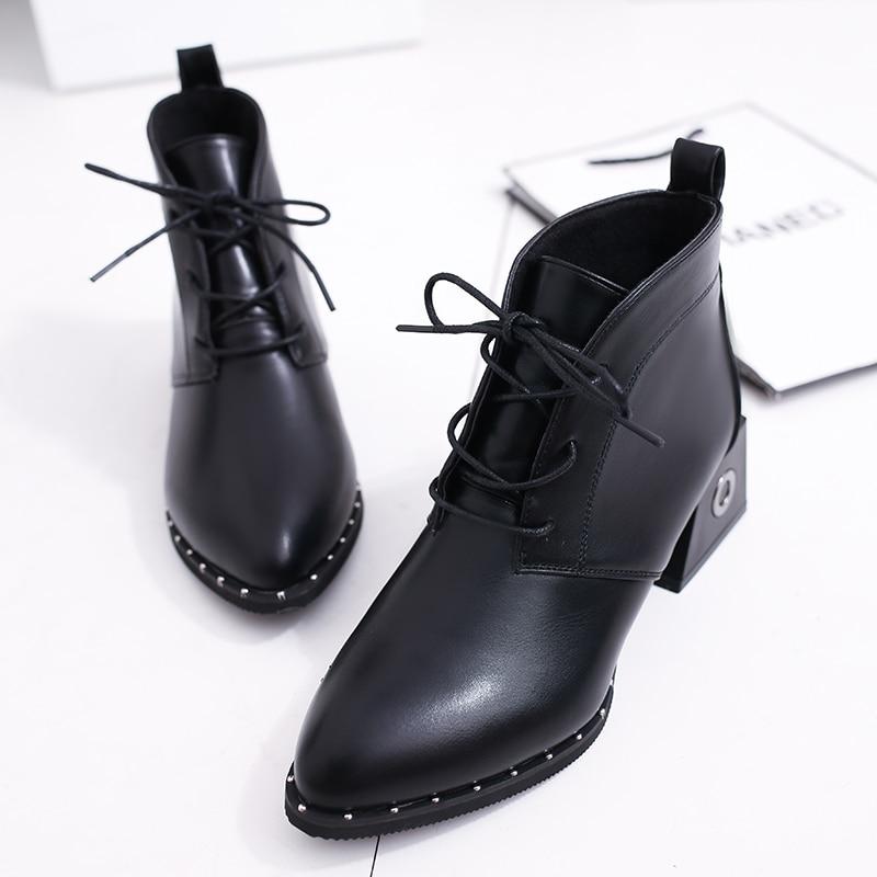 Mujeres Cm Talones up Zapatos Calidad 5 Negro Mujer Tobillo Invierno 39 Botines Remaches 35 Moda Med Otoño Lace 2018 Tamaño PXxwqzOnP