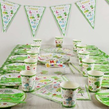 Dinosaur Party Tableware Set Paper Plate Cup Napkins Tablecloth Banner Cake Topper Happy Birthday Event Party Supplies for Kids children s birthday dinosaur cutlery party supplies set paper hat paper cup paper tablecloth gift bag props