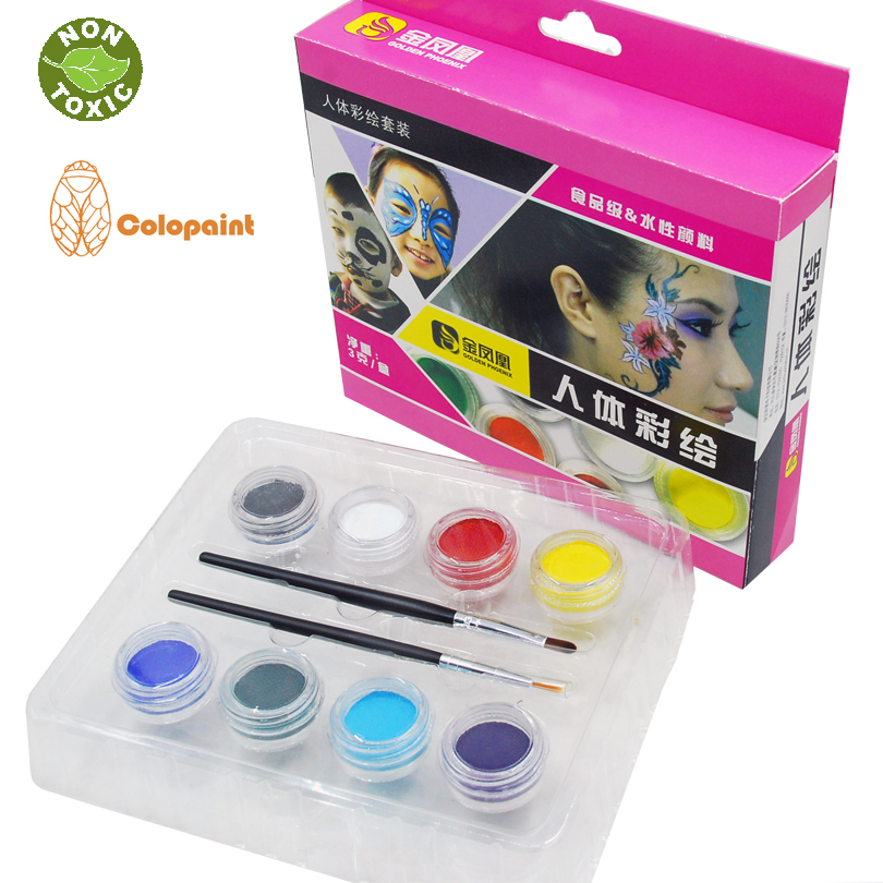 Face & Body <font><b>Food</b></font> Grade Painting Colors, 8 <font><b>Vibrant</b></font> Colors Non Toxic Paint 8 with Brushes
