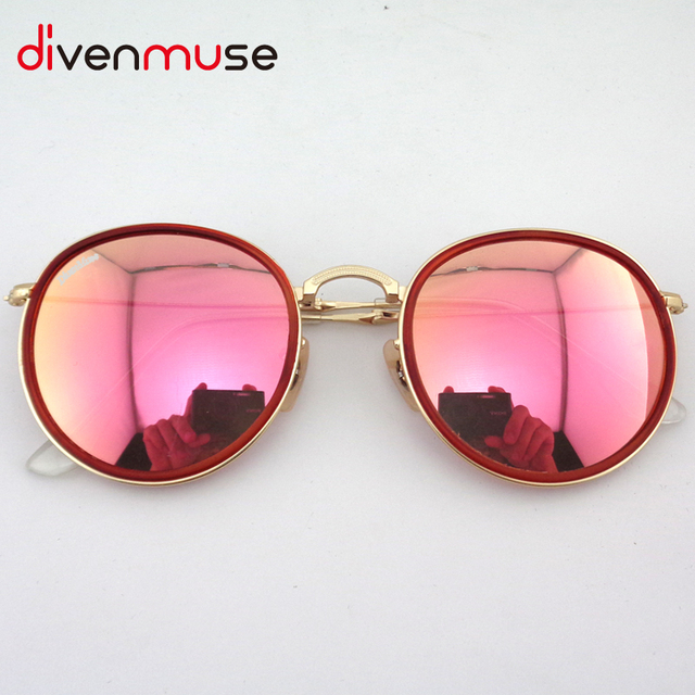 Round Folding Fishing Sunglasses New Fashion Vintage Mirror Metal Frame Women Retro Sun Glasses Lunettes De Soleil De Marque