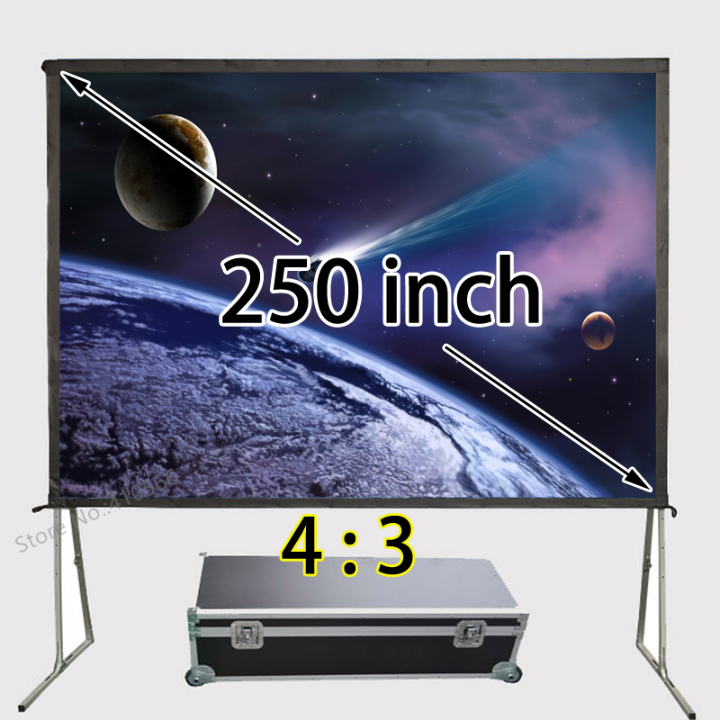 Good Quality Aluminum Frame Fast Folding Screen 200x150inch View Size 4:3 Front And Rear Projection Sreens Support 1080p hot selling 84 inch 16 9 format fast quick fold projector screen for many size front and rear projection screen