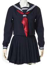 Free shipping Black Long Sleeves School Uniform Cosplay Costume