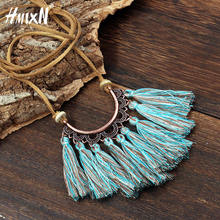 NEW Vintage Long Leather Rope Chain Boho Tassel Pendant Necklace Choker Women Sweater Chain Clothing Accessories collier femme(China)