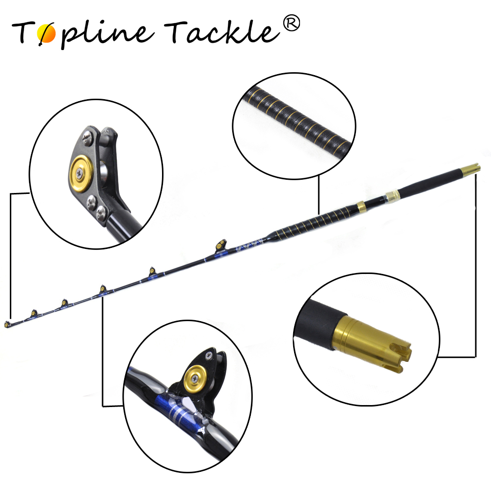 "BlueSpear 30lbs,50lbs,80lbs,100lbs 5'6"" leather fore grip nylon butt Good Game Fishing Rod nylon butt Trolling Fishing Rod"
