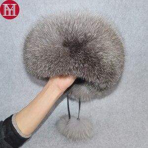 Image 1 - 2020 w nowym stylu zima rosyjski 100% naturalne prawdziwe futro z lisa kapelusz kobiety jakości prawdziwe futro z lisa Bomber kapelusze dziewczyna prawdziwe prawdziwe futro z lisa Cap