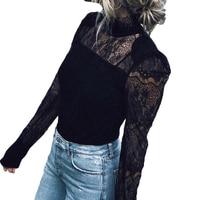 2017 Autumn Winter Women Tops Fashion Lace Blouse Shirts Long Sleeve Slim Shirt Elegant Hollow Lace