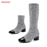 Stylesowner Patent Deri Mix Gümüş Pullu Kış Kadın Diz Yüksek Çizmeler Konfor Kare Ayak Uzun Çizmeler Moda Bling Elbise Boot