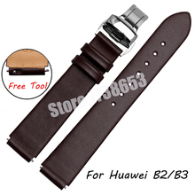 Smart Watchband For Huawei B2 B3 Quality Genuine Leather Watch band Mens 15mm 16mm Ultrathin Black Strap