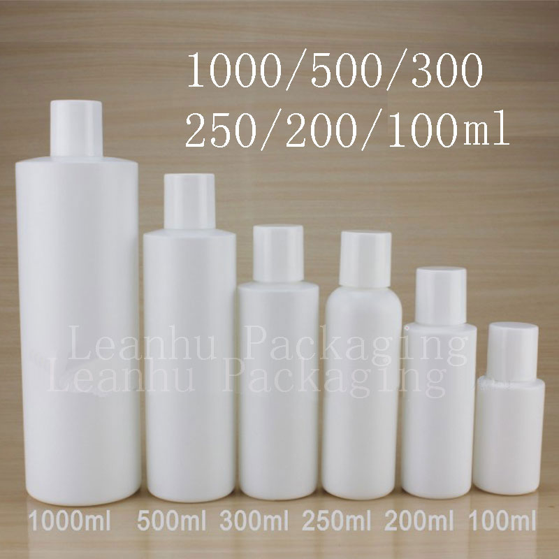 Empty White Cylinder Shape Plastic Bottles With Screw Cap