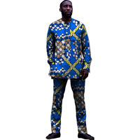 African Men Clothes Sets Printing Tops+Trousers Set Fashion Printing Cloth Costume T shirt+pants Africa Clothing Customized