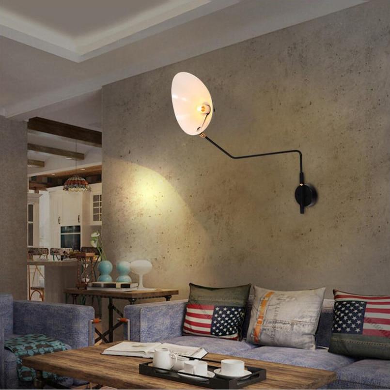Home goddess Nordic Creative Living room hotel Bedroom light Retro loft adjustable lampada rail project Wall Lamp arts sconcebra