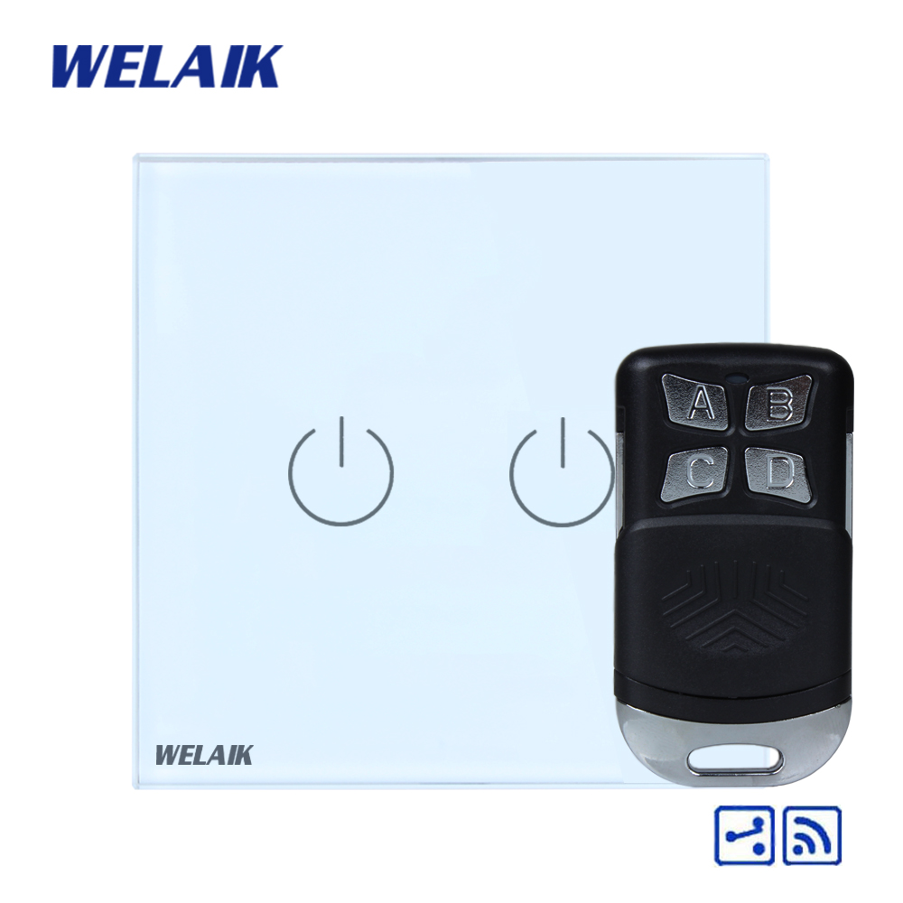 WELAIK Glass Panel Switch White Wall Switch EU remote control Touch Switch Screen Light Switch 2gang2way AC110~250V A1924W/BR01 wall light touch switch 2 gang 2 way wireless remote control touch switch power for light crystal glass panel wall switch