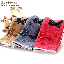 New Arrival  Cotton Kitchen Towels Embroidery Line Tea Towel Soft Table Napkins Absorbent Tea Towel Sets Deep color towel
