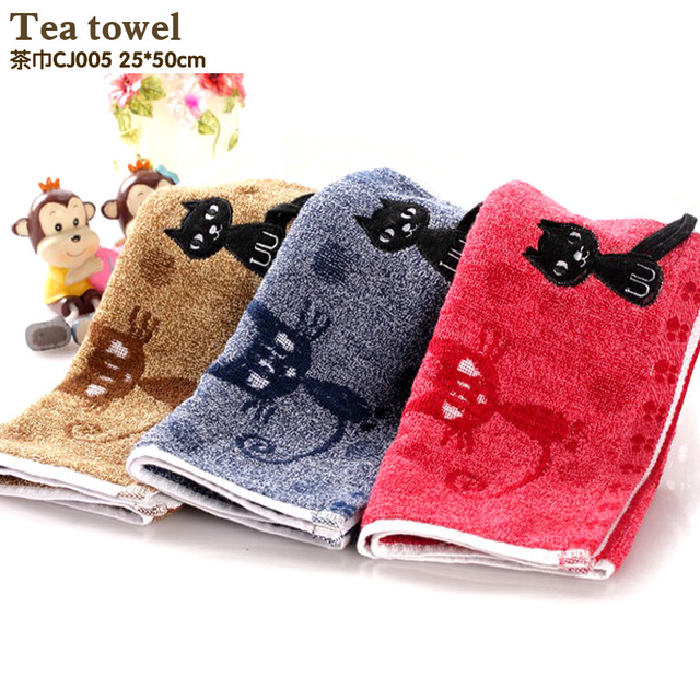 New Arrival Cotton Kitchen Towels Embroidery Line Tea Towel Soft Table Napkins Absorbent Tea Towel Sets Deep color towel