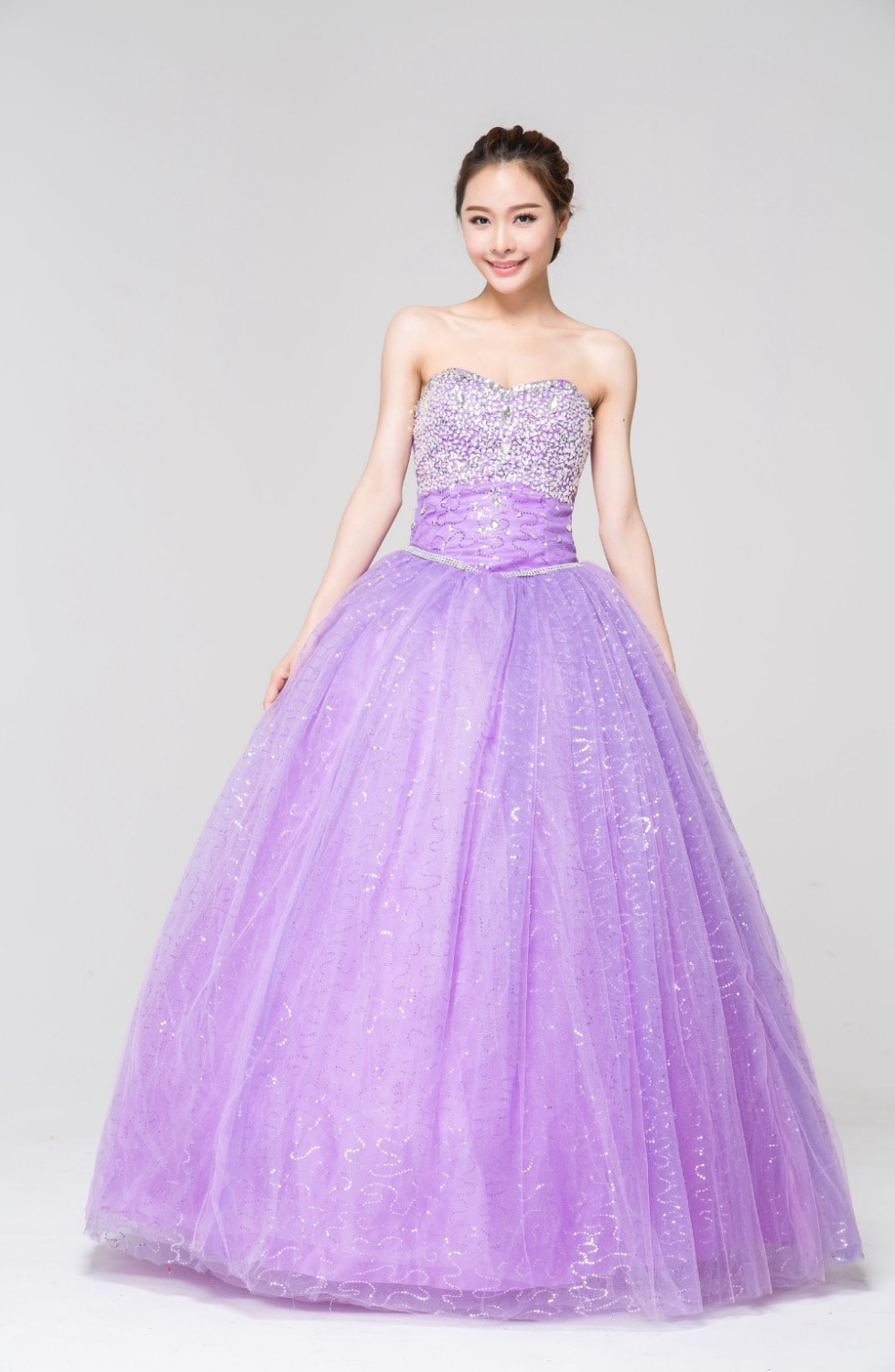 Free Shippingcrystal Decor Lavender Quinceanera Bridal Princess Ball Gown Vintage Wedding Dress Purple 2017 Real Picture Wholesa In Dresses From